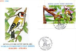 TURKEY 2001 FDC  With Bird Sheet. - Pájaros Cantores (Passeri)