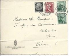De Leipzig Pour Colombes Timbres 562x2, 563, 483  1936 - Brieven En Documenten