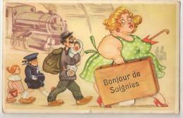 Strai@ CPA SOIGNIES CARTE A SYSTEME PROVINCE DU HAINAUT, BELGIQUE - Soignies