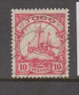 German Togo 1909 Watermarked 10 Pf Red Kaisers Yacht FU - Colony: Togo