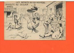 ALCOOL - Les Méfaits Du Vin Nouveau - La Visite Du Cellier (humour)(petit Pli Coin Supérieur Droit) - Cartes Postales
