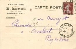 35 - Combourg - Cpa Pub - Horlogerie En Gros - ** E. Lanos ** - Cpa En Bon état, Voyagée En 1922 -  2 Scans - Combourg