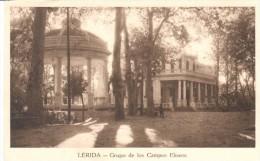 POSTAL  LERIDA  -CATALUÑA  - GRUPO DE LOS CAMPOS ELISEOS - Lérida