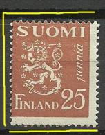 FINLAND FINNLAND 1930 Coat Of Arms 25 P. + Perforation ERROR * - Finland
