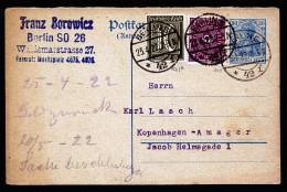 A2827) DR Infla Antwortkartenteil Von Berlin 23.4.1922 Nach Kopenhagen