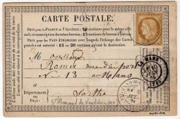 !!! CARTE PRECURSEUR CERES, CACHET DE ST AMAND DE VENDOME (LOIR ET CHER) 1876 - Cartoline Precursori