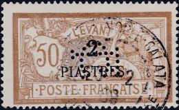 """Franz. Post In Dewr Levante Constantinople-Galata Auf 2 Pia. Aufdruck 50Cent """"Perfin LC"""" - Oblitérés"""