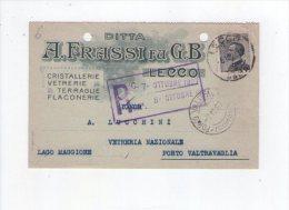 Cartolina/postcard Ditta A. Frassi Su G.B - Lecco (cristallerie, Vetrerie, Terraglie, Flaconerie) 1927 - Publicité