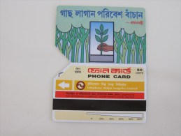 Urmet Magnetic Phonecard,BAN-02 Planting A Tree,used - Bangladesh