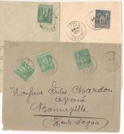 PARIS DEPART Sur 2 Devant Et Une Enveloppe SAGE. - 1876-1898 Sage (Tipo II)