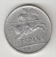 Spain 10 Centimos 1945    Km  766   Xf - [ 4] 1939-1947 : Gobierno Nacionalista
