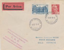 668/22 - Lettre PAR AVION TP Marianne Gandon PARIS Aviation 1948 - PREMIER VOL S.A.S. PARIS - OSLO - 1927-1959 Briefe & Dokumente
