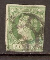 1860 2 CUARTOS VERDE EDIFIL 51 VALOR  28 € - 1850-68 Kingdom: Isabella II