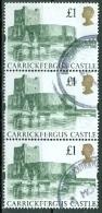 Grossbritannien 1 Pfd. Schloss Carrickfergus Castle Senkr. 3-er Streifen Gest. - 1952-.... (Elisabeth II.)