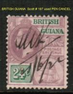 BRITISH GUYANA   Scott  # 197 VF USED - British Guiana (...-1966)