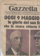 RA#43#30 Giornale GAZZETTA DEL POPOLO 9 Maggio 1941/GUERRA : GLORIE ESERCITO ITALIANO VITT.EM - MUSSOLINI - DUCA D'AOSTA - Riviste & Giornali