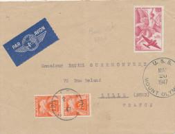 671/22 - Lettre TP AVION FRANCE 1947 Vers LILLE , Taxée 20 Francs - Postée Sur Bateau USS Mount Olympus - Expéditions Antarctiques