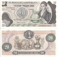 Colombia P409d, 20 Peso, Francisco José De Caldas / Gold Museum $5CV - Colombia