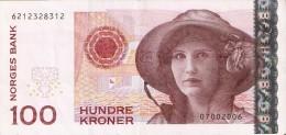 BILLETE DE NORUEGA DE 100 KRONER DEL AÑO 2006  (BANKNOTE) - Norvegia
