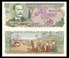 Costa Rica P236e, 5 Colones, Castro / Harbor Painting, TDLR, UNC, $5 CV - Costa Rica