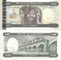 Eritrea P3, 10 Nafka, 1997, 3 Woman, Camel, Women / Truck, Viaduct, $7+CV - Eritrea