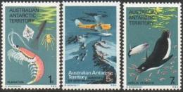 AAT Australian Antartic Territory Poste 23 à 25 ** MNH Antarktis Antarctique Pôle Sud : Krill Manchot Gypsy Moth Mawzon - Unused Stamps