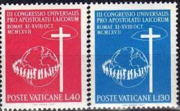 Erde Mit Kreuz Menschen-Reihe 1965 Vatikan 531/2 ** 1€ Apostel 3.Welt-Kongress Apostolates Religion Map Set Of Vaticane - Vatican