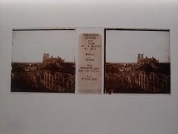 Photo Plaque De Verre Stéréoscopique Guerre 14-18 Reims Marne Vue Panoramique - Diapositiva Su Vetro