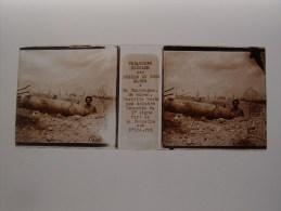 Photo Plaque De Verre Stéréoscopique Guerre 14-18 Fort De La Pompelle Torpille Boche Non Explosée - Diapositiva Su Vetro