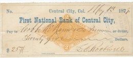 Central City Colorado, First National Bank Of Central City 1879 Check $25 Paid To Cobb McMann & Company - Cheques & Traveler's Cheques