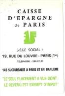Calendrier 1974 - Caisse D´Epargne De Paris - Petit Format : 1971-80