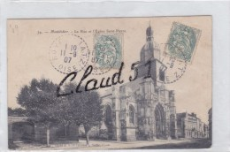 Montdidier (80) La Rue Et L'Eglise Saint Pierre - Montdidier