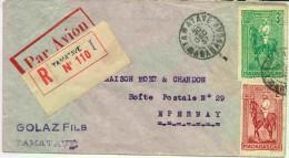 Lettre Recommandée Par Avion De Tamatave Pour La France (voir Verso - 2 Cachets Différents De Tamatave - Storia Postale