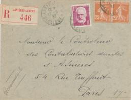 686/22 - Lettre RECOMMANDEE TP Victor Hugo Et TP Semeuse ASNIERES 1937 Vers PARIS - Non Classificati