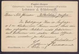 Deutsche Reichpost PAPIER-LAGER LEHMANN & HILDEBRANDT, ALTONA 1898 Postkarte To BILLESHOLM Sweden (2 Scans) - Alemania