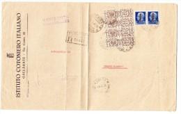 """R-Brief  """"Gallarate 14.2.45"""" Nach Cesano Maderno MIF  2 X Mi.# 646 + 4 X Mi.#Pa24 Sassone PP24+495 - 1900-44 Victor Emmanuel III."""