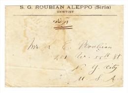 1911 R-Brief Aleppo Syrien Nach New-York Frankiert Rückseite Mi#161 Paar 20 Para - Résistance Nationale