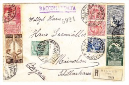 R-Brief 1911 Mailand Nach München Mit Satz Königreich Perfin Sassone 81-83, S.13 - 1900-44 Victor Emmanuel III.