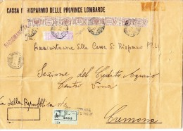 Mi.# 30 + 24 Auf Grossformatiger R-Brief Castiglione 26.2.44 Nach Cremona Sign Sorani (Sassone PP24.PP30) - 1900-44 Victor Emmanuel III.