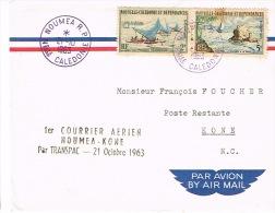 Nouvelle Caledonie Premier Vol Aerien FFC Noumea Kone Transpac 21/10/1963 RR - Lettres & Documents