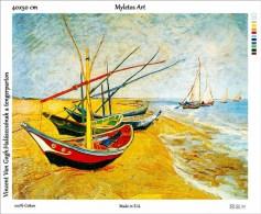 New Tapestry, Gobelin, Picture, Print, Van Gogh, Coast, Boats, Sea - Creative Hobbies