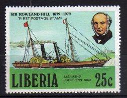 Liberia 1979 Sir Rowland Hill Stamp MNH Steamship John Penn - Rowland Hill