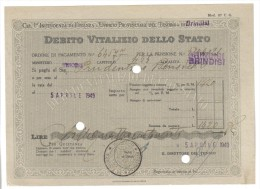 Debito Vitalizio Dello Stato Brindisi 1949 Asta 422 - Azioni & Titoli