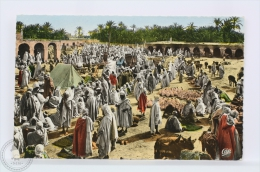 Old Maroc Real Photo Postcard - Scenes Et Types - Un Marche Arabe - Posted, 1958 - Postales