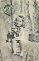 Themes - Enfants - Ref 485 - Portrait De Fillette  Avec Chat  -fillettes - Chats - Carte Bon Etat - - Portraits