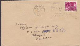 Kenya MOMBASSA Slogan 1965 Cover Brief To Officer Kenya Navy Head Heavy Industry Stamp - Kenia (1963-...)