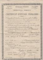 Certificat études Primaires 1920 à 03 Moulins - Diploma & School Reports