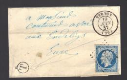 FRANCE N° 14  Obl. S/Lettre Entiére PC 3533 Vernon + T De Facteur - 1853-1860 Napoleone III