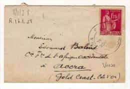 !!! 1,75 F TYPE PAIX SEUL SUR LETTRE POUR ACCRA (GOLD COAST) 1938 - Marcophilie (Lettres)