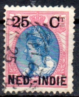 NETHERLANDS INDIES 1900 Queen Wilhelmina - 25c. On 25c. - Blue And Pink  FU - Netherlands Indies